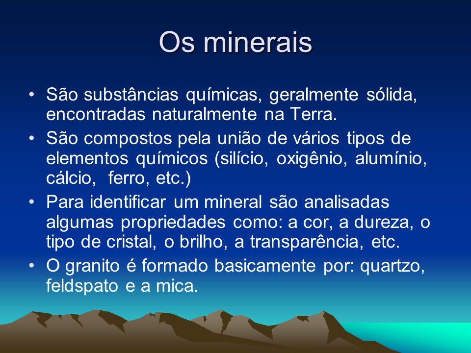 Os minerais São substâncias químicas, geralmente sólida, encontradas naturalmente na Terra. São compostos pela união de vários tipos de elementos quím