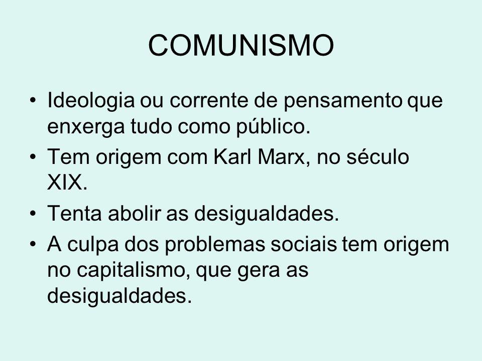COMUNISMO Ideologia ou corrente de pensamento que enxerga tudo como público. Tem origem com Karl Marx, no século XIX. Tenta abolir as desigualdades. A