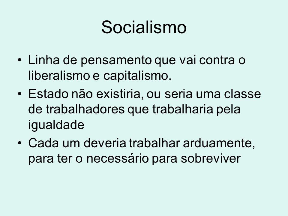 Socialismo Linha de pensamento que vai contra o liberalismo e capitalismo. Estado não existiria, ou seria uma classe de trabalhadores que trabalharia