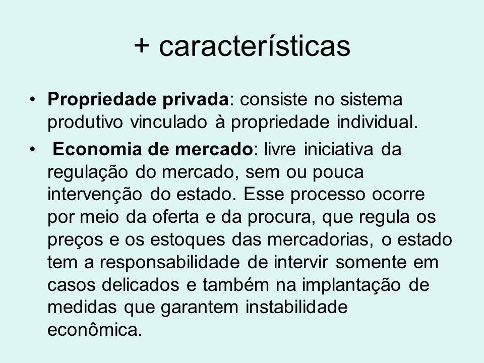 + características Propriedade privada: consiste no sistema produtivo vinculado à propriedade individual. Economia de mercado: livre iniciativa da regu