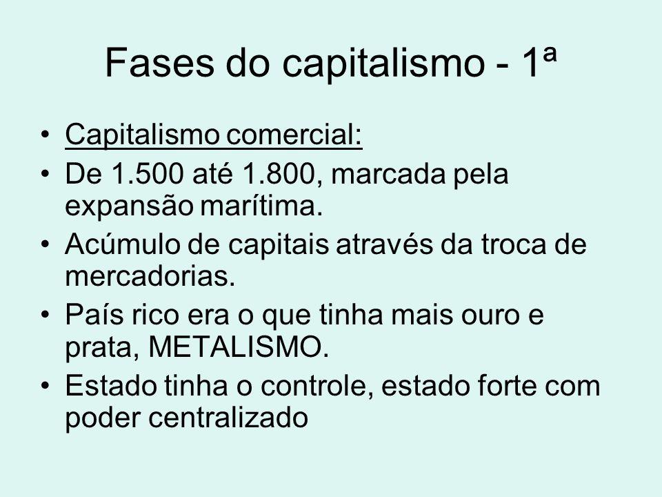 Fases do capitalismo - 1ª Capitalismo comercial: De 1.500 até 1.800, marcada pela expansão marítima. Acúmulo de capitais através da troca de mercadori