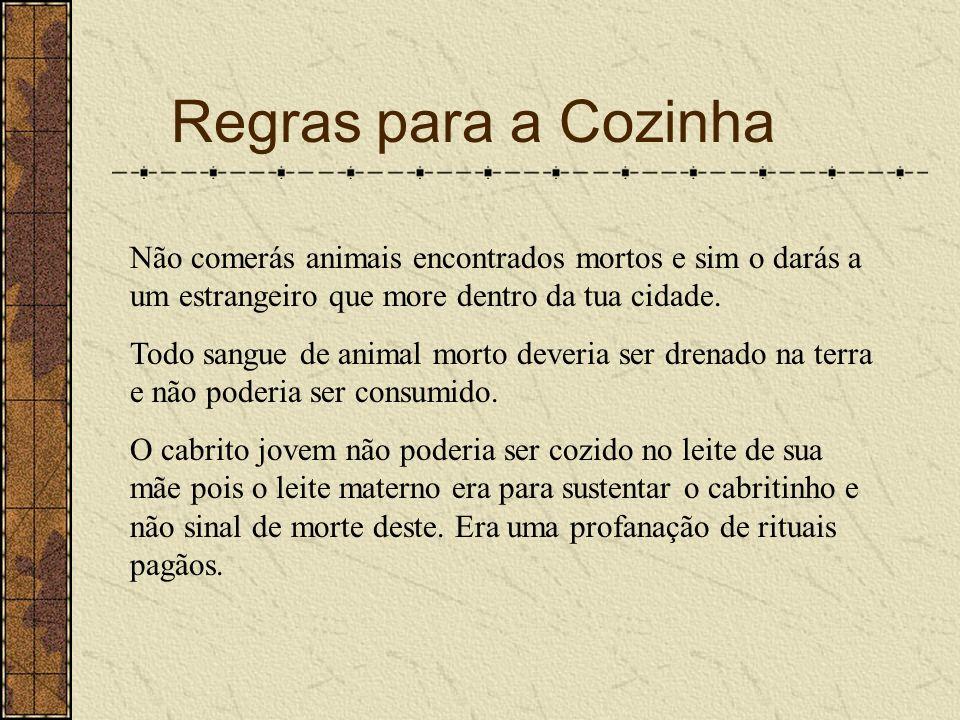 Regras para a Cozinha Não comerás animais encontrados mortos e sim o darás a um estrangeiro que more dentro da tua cidade. Todo sangue de animal morto