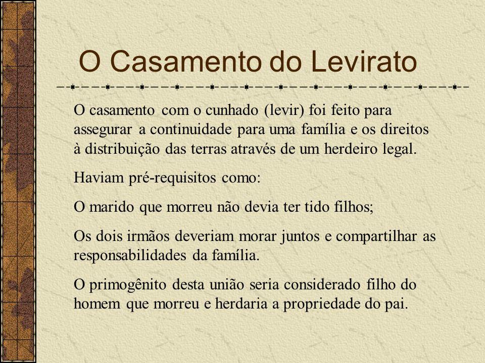 O Casamento do Levirato O casamento com o cunhado (levir) foi feito para assegurar a continuidade para uma família e os direitos à distribuição das te