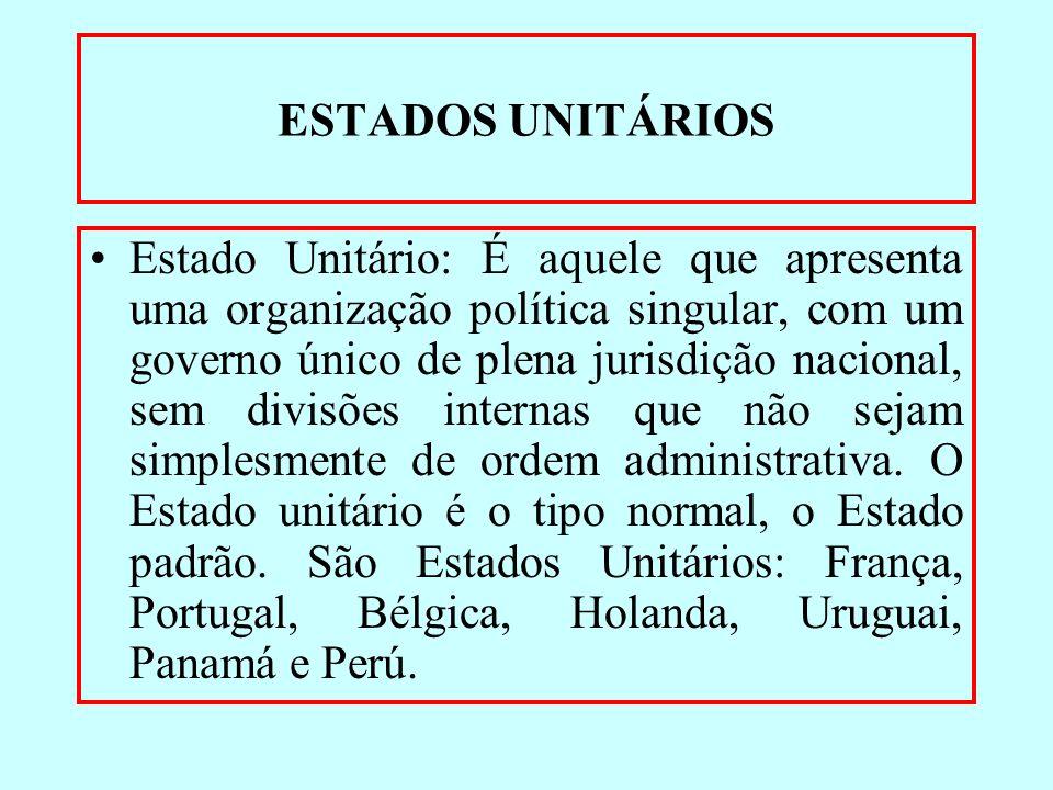 ESTADOS UNITÁRIOS Estado Unitário: É aquele que apresenta uma organização política singular, com um governo único de plena jurisdição nacional, sem di
