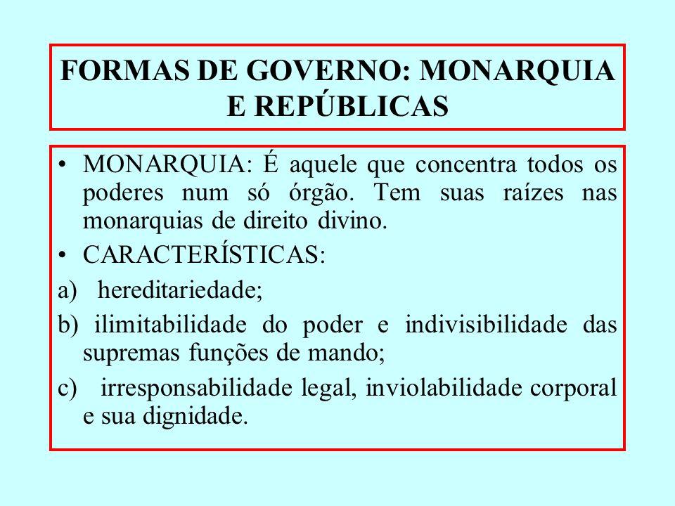 FORMAS DE GOVERNO: MONARQUIA E REPÚBLICAS MONARQUIA: É aquele que concentra todos os poderes num só órgão. Tem suas raízes nas monarquias de direito d