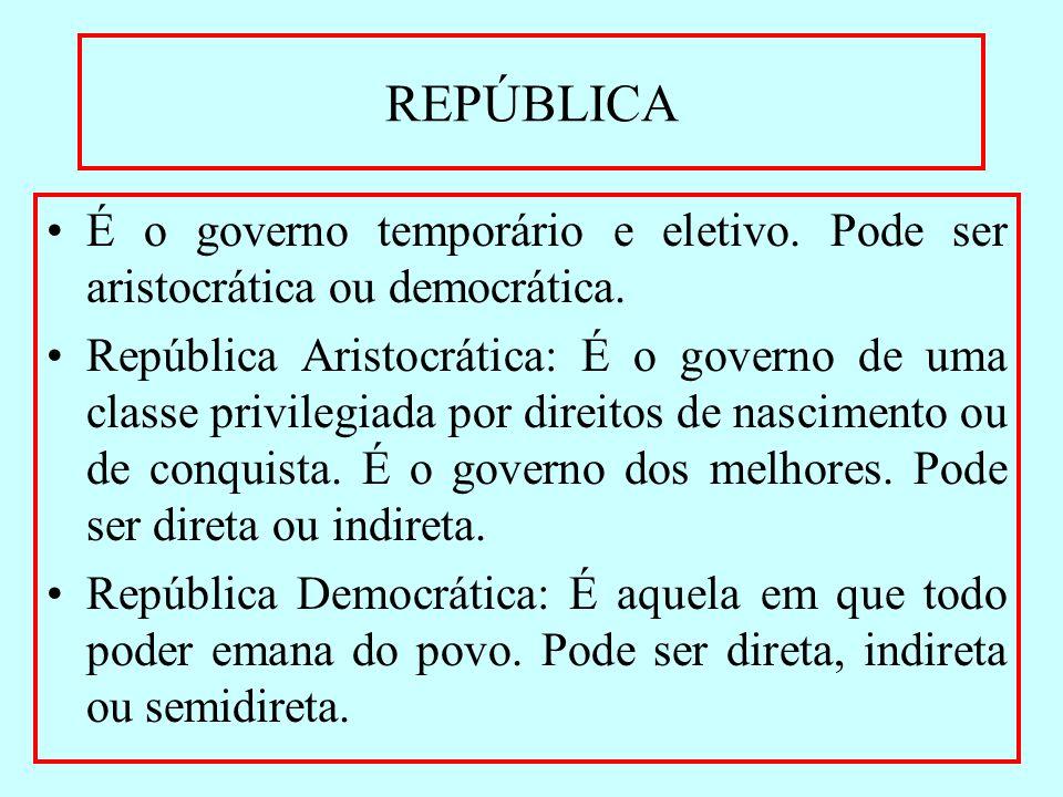 REPÚBLICA É o governo temporário e eletivo. Pode ser aristocrática ou democrática. República Aristocrática: É o governo de uma classe privilegiada por