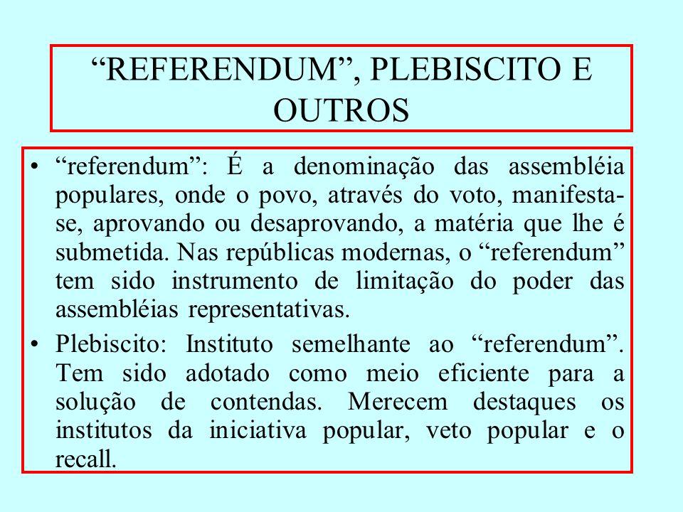 REFERENDUM, PLEBISCITO E OUTROS referendum: É a denominação das assembléia populares, onde o povo, através do voto, manifesta- se, aprovando ou desapr