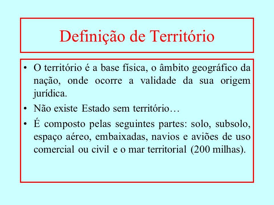 Definição de Território O território é a base física, o âmbito geográfico da nação, onde ocorre a validade da sua origem jurídica. Não existe Estado s