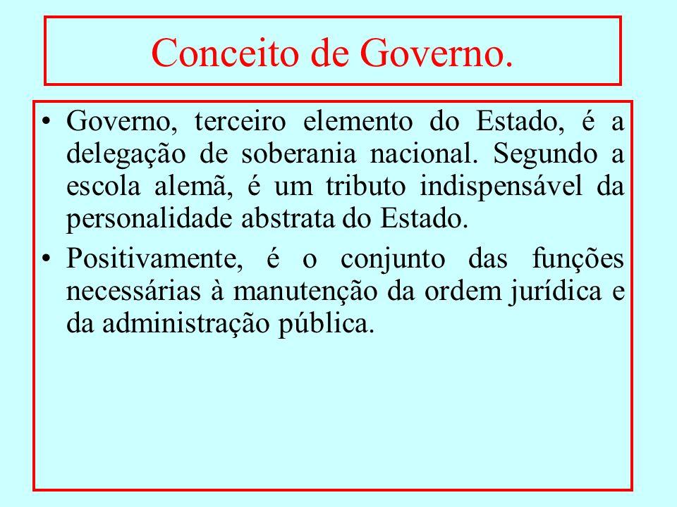 Conceito de Governo. Governo, terceiro elemento do Estado, é a delegação de soberania nacional. Segundo a escola alemã, é um tributo indispensável da