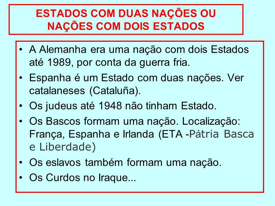 ESTADOS COM DUAS NAÇÕES OU NAÇÕES COM DOIS ESTADOS A Alemanha era uma nação com dois Estados até 1989, por conta da guerra fria. Espanha é um Estado c