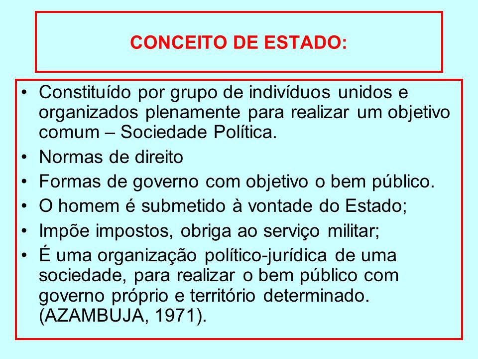 CONCEITO DE ESTADO: Constituído por grupo de indivíduos unidos e organizados plenamente para realizar um objetivo comum – Sociedade Política. Normas d