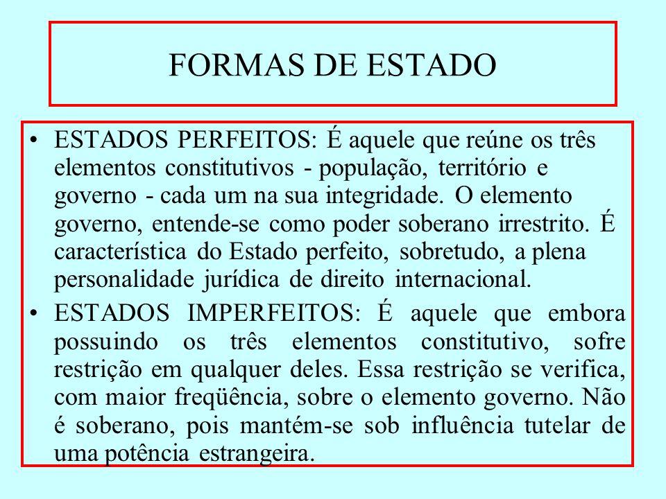 FORMAS DE ESTADO ESTADOS PERFEITOS: É aquele que reúne os três elementos constitutivos - população, território e governo - cada um na sua integridade.