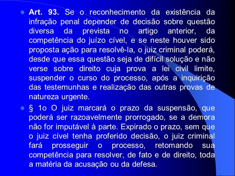 Art. 93. Se o reconhecimento da existência da infração penal depender de decisão sobre questão diversa da prevista no artigo anterior, da competência
