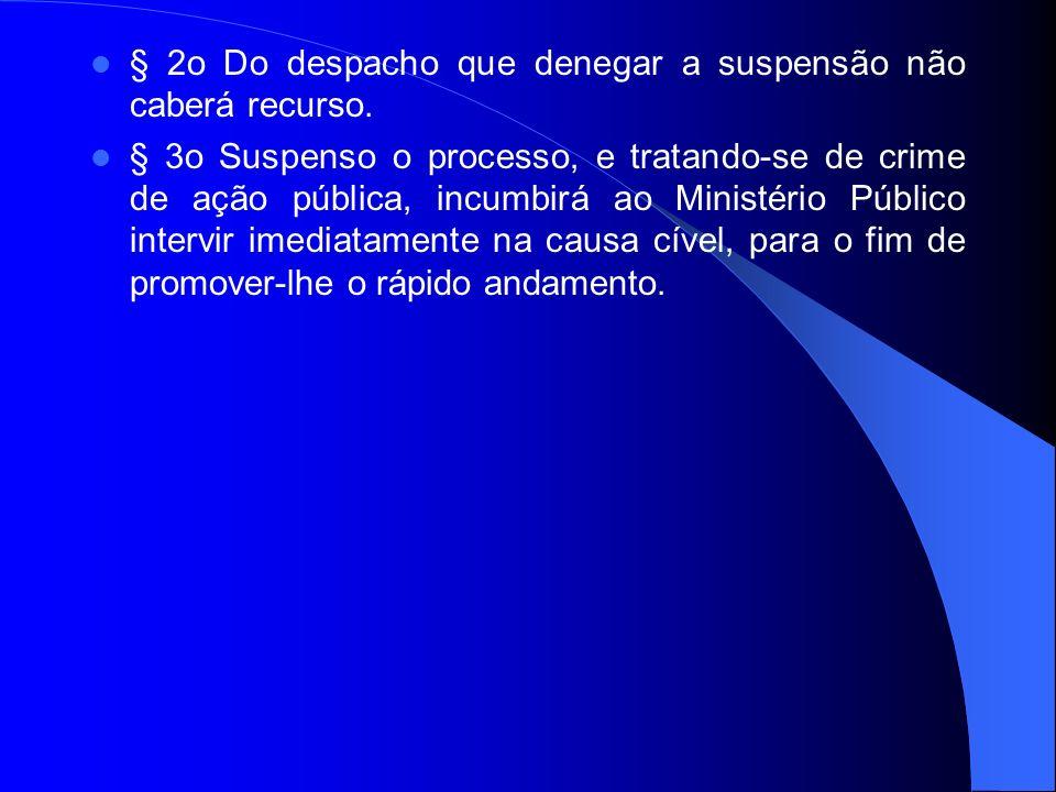 § 2o Do despacho que denegar a suspensão não caberá recurso. § 3o Suspenso o processo, e tratando-se de crime de ação pública, incumbirá ao Ministério
