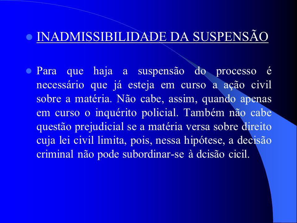 INADMISSIBILIDADE DA SUSPENSÃO Para que haja a suspensão do processo é necessário que já esteja em curso a ação civil sobre a matéria. Não cabe, assim