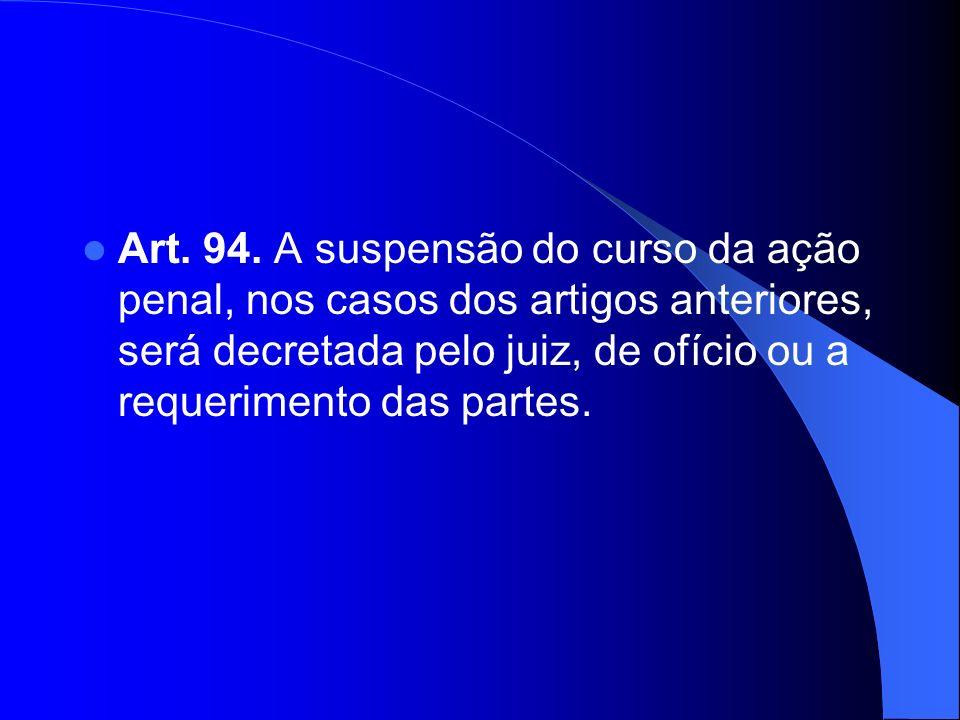 Art. 94. A suspensão do curso da ação penal, nos casos dos artigos anteriores, será decretada pelo juiz, de ofício ou a requerimento das partes.