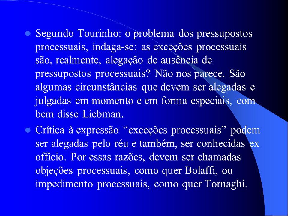 Segundo Tourinho: o problema dos pressupostos processuais, indaga-se: as exceções processuais são, realmente, alegação de ausência de pressupostos pro