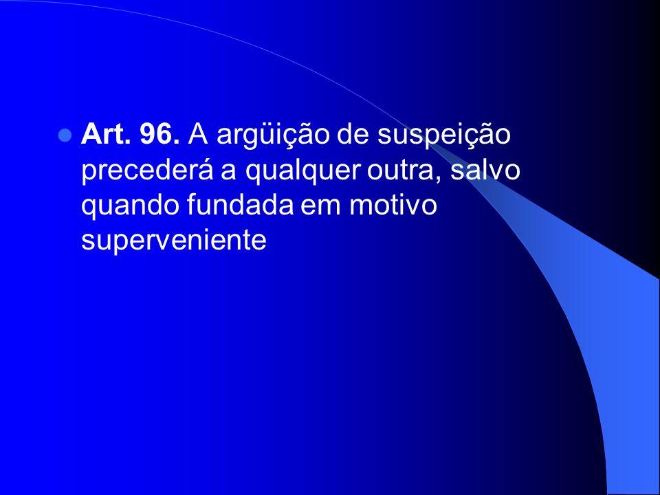 Art. 96. A argüição de suspeição precederá a qualquer outra, salvo quando fundada em motivo superveniente