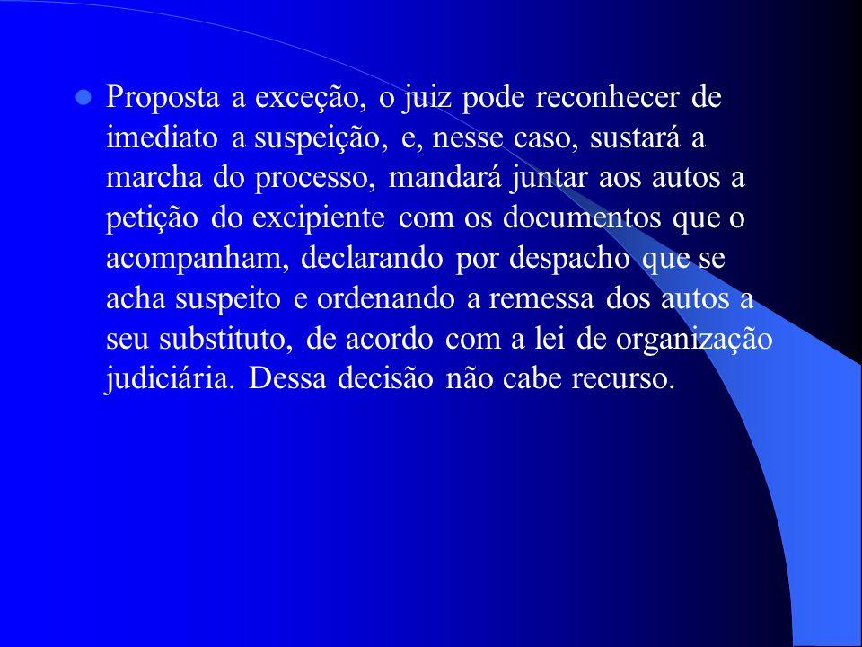 Proposta a exceção, o juiz pode reconhecer de imediato a suspeição, e, nesse caso, sustará a marcha do processo, mandará juntar aos autos a petição do
