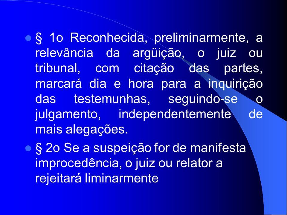 § 1o Reconhecida, preliminarmente, a relevância da argüição, o juiz ou tribunal, com citação das partes, marcará dia e hora para a inquirição das test