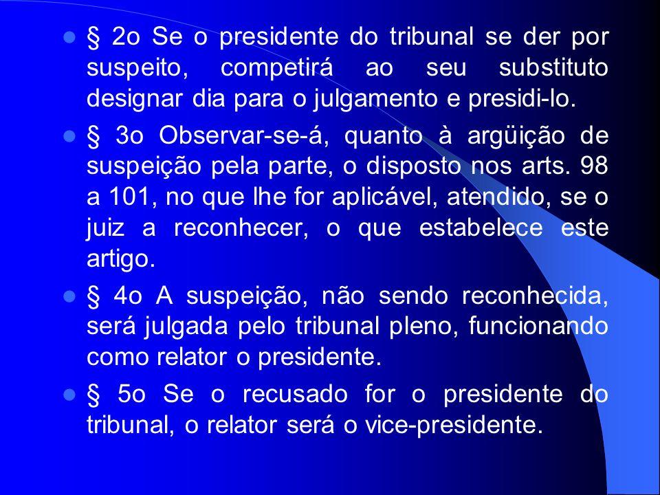 § 2o Se o presidente do tribunal se der por suspeito, competirá ao seu substituto designar dia para o julgamento e presidi-lo. § 3o Observar-se-á, qua