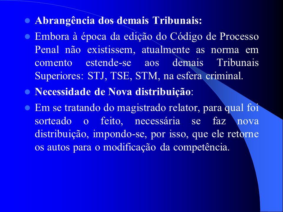 Abrangência dos demais Tribunais: Embora à época da edição do Código de Processo Penal não existissem, atualmente as norma em comento estende-se aos d