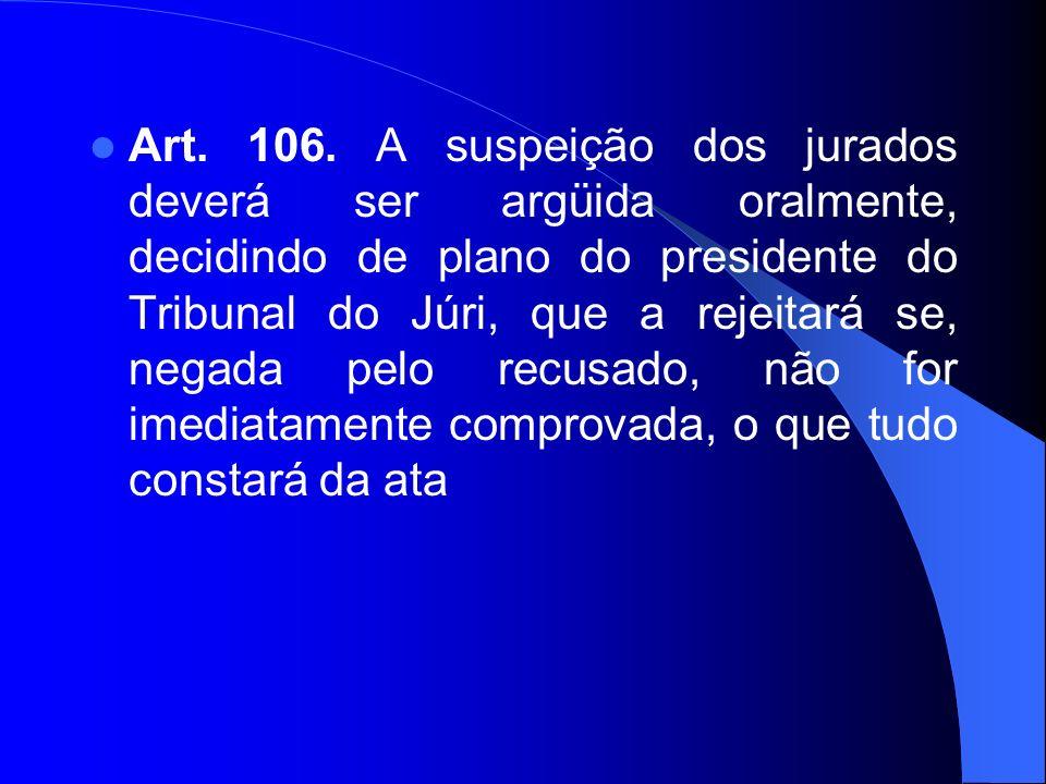 Art. 106. A suspeição dos jurados deverá ser argüida oralmente, decidindo de plano do presidente do Tribunal do Júri, que a rejeitará se, negada pelo