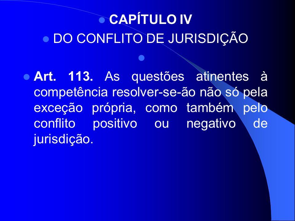 CAPÍTULO IV DO CONFLITO DE JURISDIÇÃO Art. 113. As questões atinentes à competência resolver-se-ão não só pela exceção própria, como também pelo confl