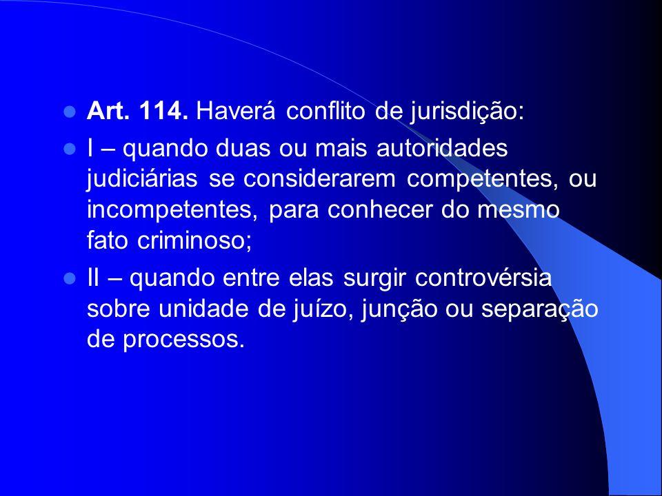 Art. 114. Haverá conflito de jurisdição: I – quando duas ou mais autoridades judiciárias se considerarem competentes, ou incompetentes, para conhecer