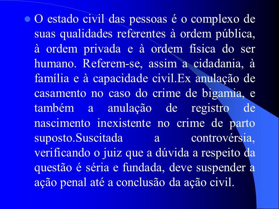 O estado civil das pessoas é o complexo de suas qualidades referentes à ordem pública, à ordem privada e à ordem física do ser humano. Referem-se, ass