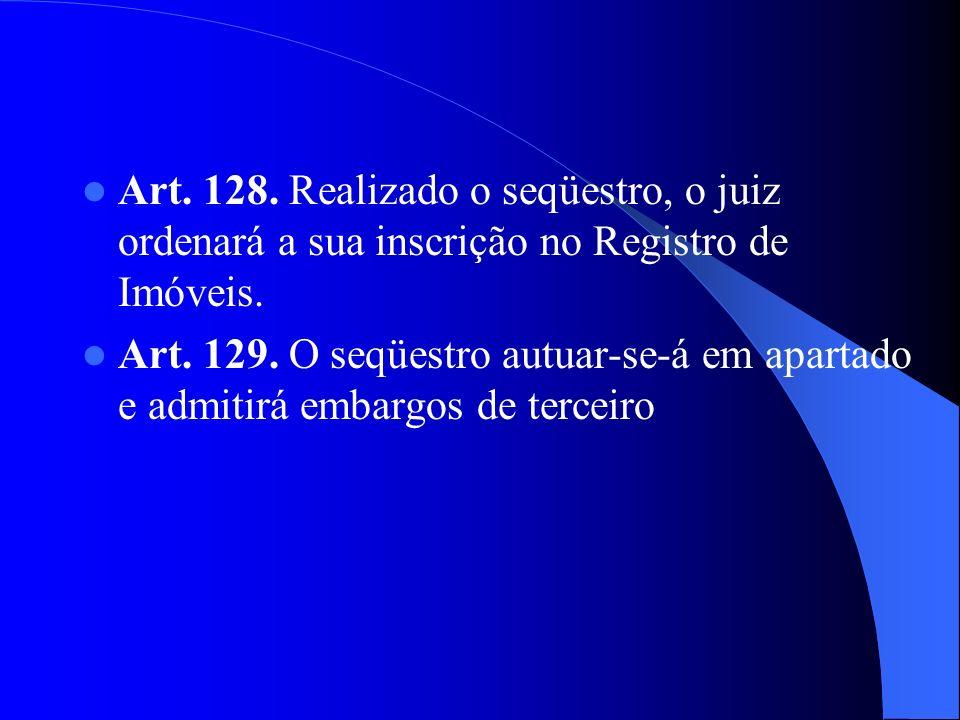 Art. 128. Realizado o seqüestro, o juiz ordenará a sua inscrição no Registro de Imóveis. Art. 129. O seqüestro autuar-se-á em apartado e admitirá emba