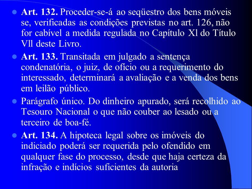 Art. 132. Proceder-se-á ao seqüestro dos bens móveis se, verificadas as condições previstas no art. 126, não for cabível a medida regulada no Capítulo