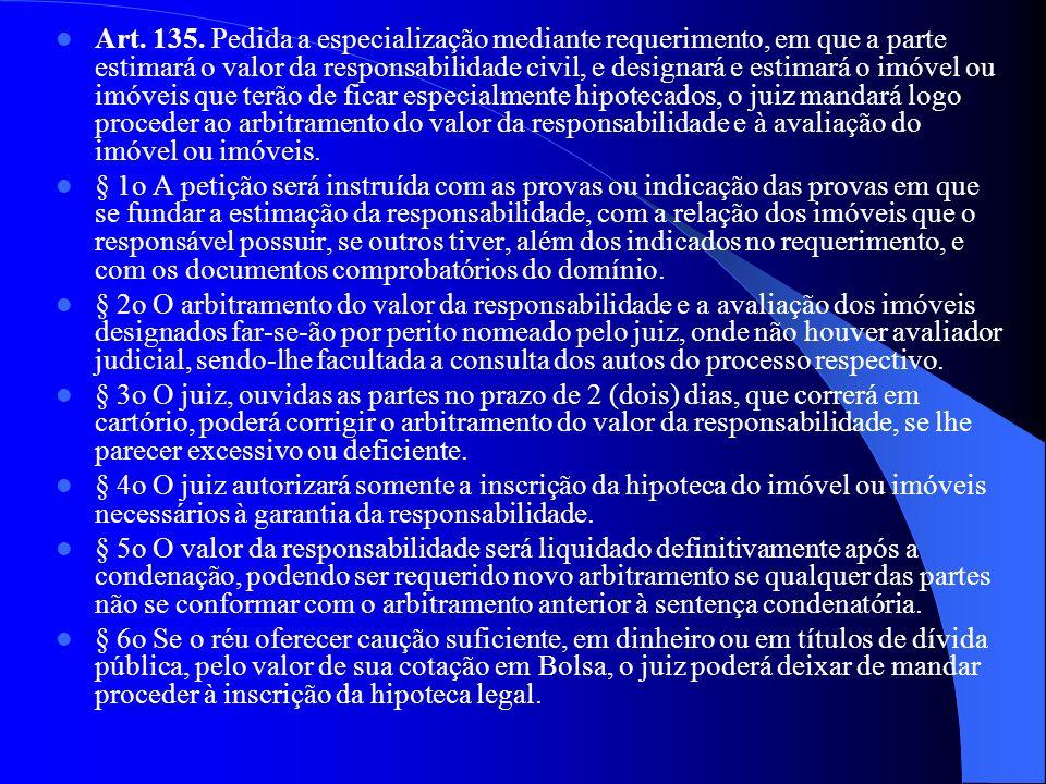 Art. 135. Pedida a especialização mediante requerimento, em que a parte estimará o valor da responsabilidade civil, e designará e estimará o imóvel ou