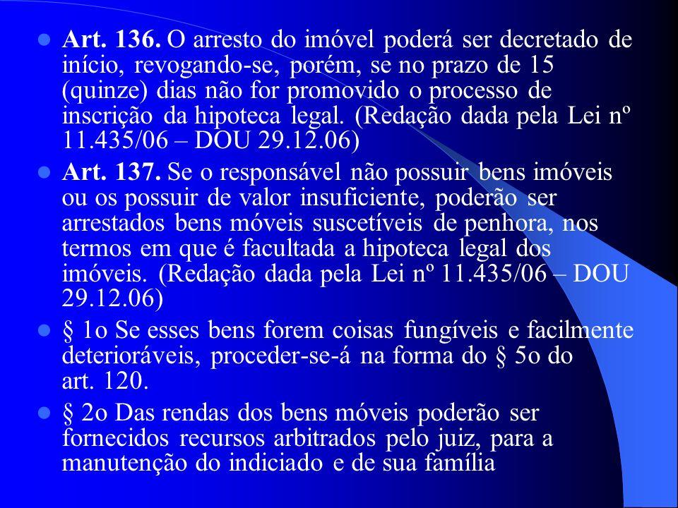 Art. 136. O arresto do imóvel poderá ser decretado de início, revogando-se, porém, se no prazo de 15 (quinze) dias não for promovido o processo de ins