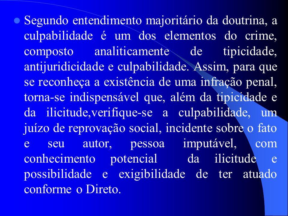 Segundo entendimento majoritário da doutrina, a culpabilidade é um dos elementos do crime, composto analiticamente de tipicidade, antijuridicidade e c