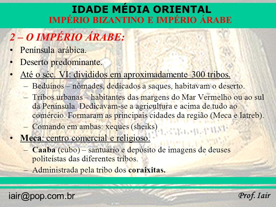 IDADE MÉDIA ORIENTAL Prof. Iair iair@pop.com.br IMPÉRIO BIZANTINO E IMPÉRIO ÁRABE A CAABA - MECA
