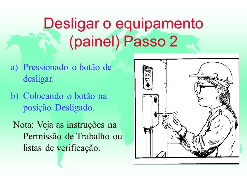 Desligar o equipamento (painel) Passo 2 a)Pressionado o botão de desligar. b)Colocando o botão na posição Desligado. Nota: Veja as instruções na Permi
