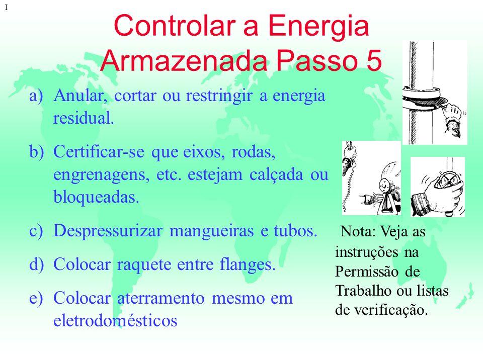 Controlar a Energia Armazenada Passo 5 I a)Anular, cortar ou restringir a energia residual. b)Certificar-se que eixos, rodas, engrenagens, etc. esteja