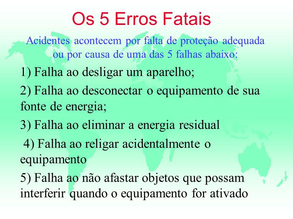 Os 5 Erros Fatais Acidentes acontecem por falta de proteção adequada ou por causa de uma das 5 falhas abaixo: 1) Falha ao desligar um aparelho; 2) Fal
