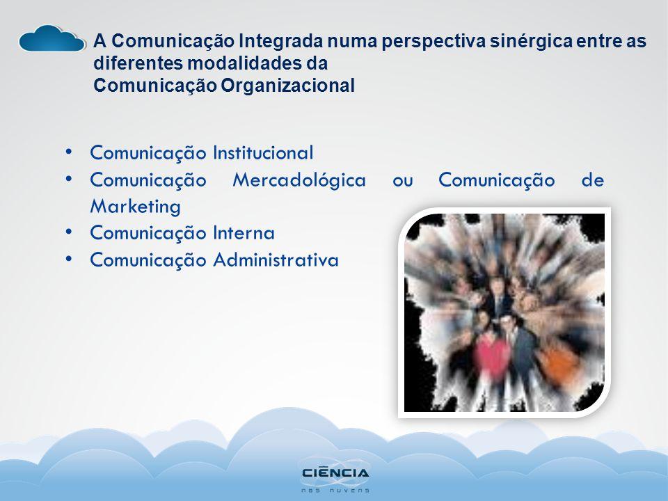 A Comunicação Integrada numa perspectiva sinérgica entre as diferentes modalidades da Comunicação Organizacional Comunicação Institucional Comunicação Mercadológica ou Comunicação de Marketing Comunicação Interna Comunicação Administrativa