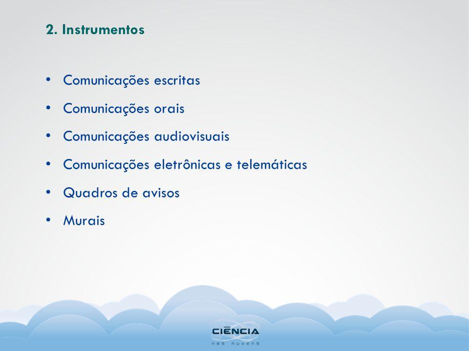 2. Instrumentos Comunicações escritas Comunicações orais Comunicações audiovisuais Comunicações eletrônicas e telemáticas Quadros de avisos Murais