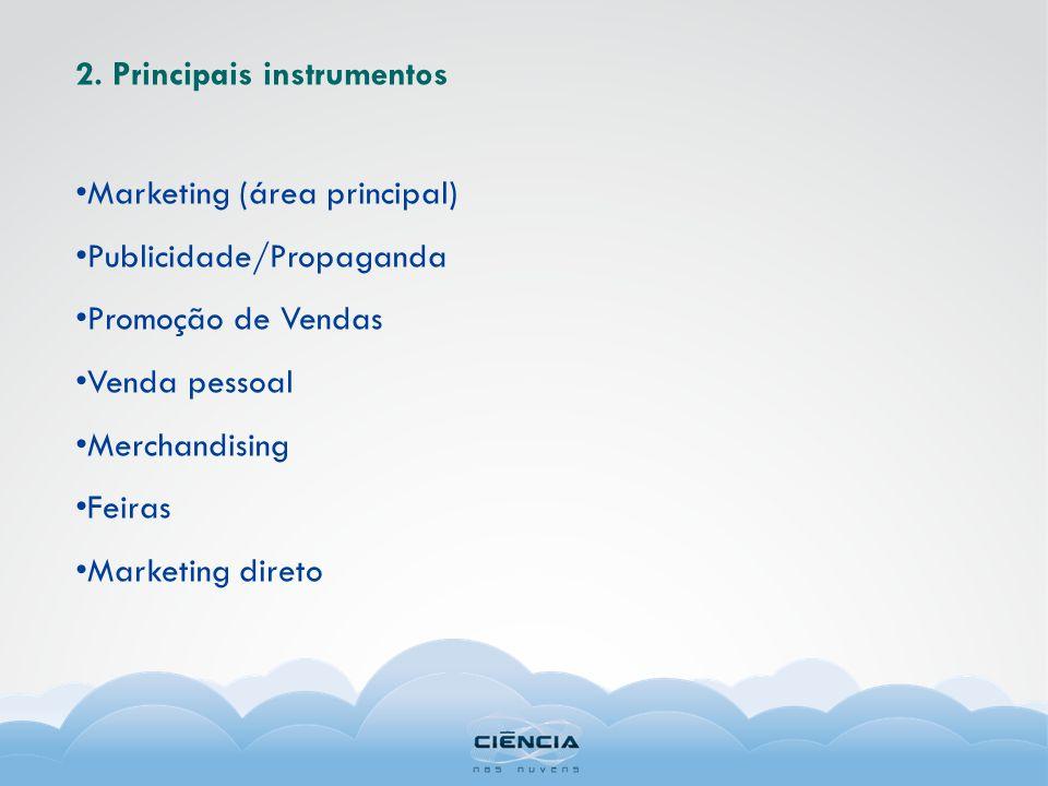 2. Principais instrumentos Marketing (área principal) Publicidade/Propaganda Promoção de Vendas Venda pessoal Merchandising Feiras Marketing direto