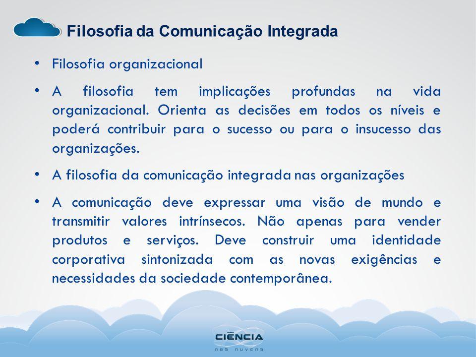 Filosofia da Comunicação Integrada Filosofia organizacional A filosofia tem implicações profundas na vida organizacional. Orienta as decisões em todos