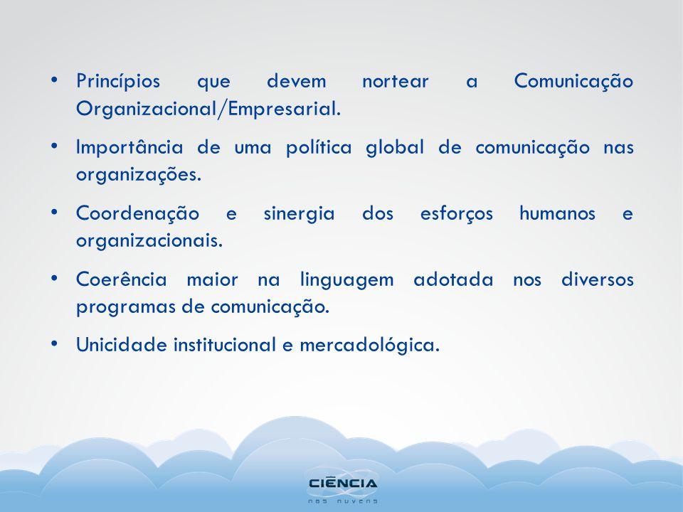 Princípios que devem nortear a Comunicação Organizacional/Empresarial. Importância de uma política global de comunicação nas organizações. Coordenação