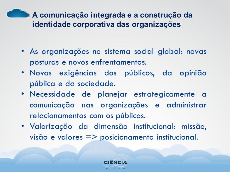 A comunicação integrada e a construção da identidade corporativa das organizações As organizações no sistema social global: novas posturas e novos enfrentamentos.
