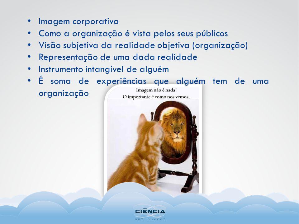 Imagem corporativa Como a organização é vista pelos seus públicos Visão subjetiva da realidade objetiva (organização) Representação de uma dada realidade Instrumento intangível de alguém É soma de experiências que alguém tem de uma organização