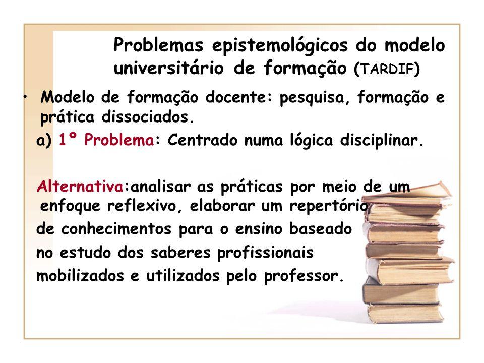 Problemas epistemológicos do modelo universitário de formação ( TARDIF ) a) 2º Problema : professores tratados como espíritos virgens, destituídos de crenças e expectativas.