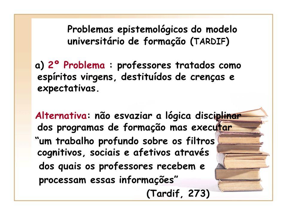 Epistemologia da prática profissional Estudo do conjunto de saberes utilizados pelos profissionais na sala de aula para desempenhar todas as suas tarefas.