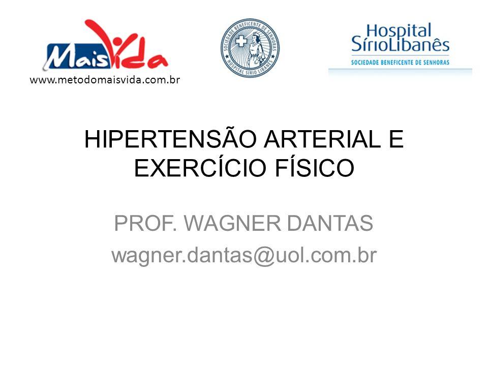 HIPERTENSÃO ARTERIAL E EXERCÍCIO FÍSICO PROF. WAGNER DANTAS wagner.dantas@uol.com.br www.metodomaisvida.com.br