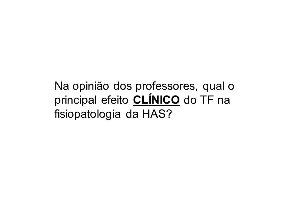 Na opinião dos professores, qual o principal efeito CLÍNICO do TF na fisiopatologia da HAS?